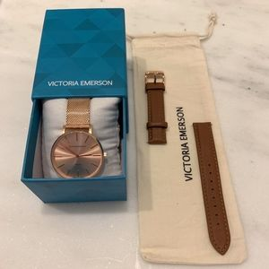 *NEW* Rose Gold Emerson Watch + Light Brown Strap